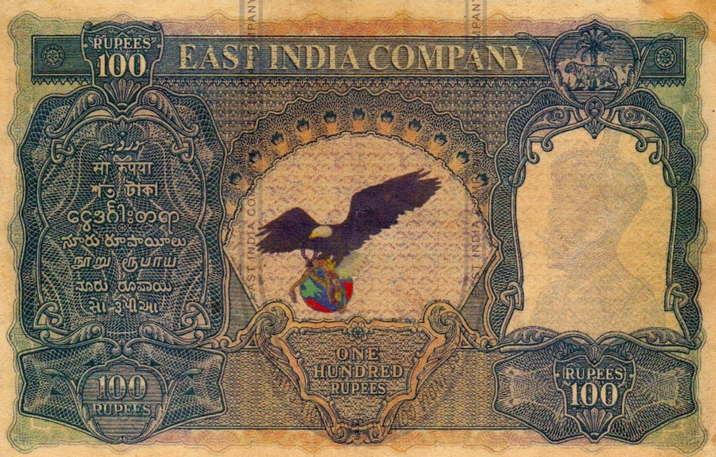 East India Company 100 RUPEES Eagle Earth n Snake Note-Back Side